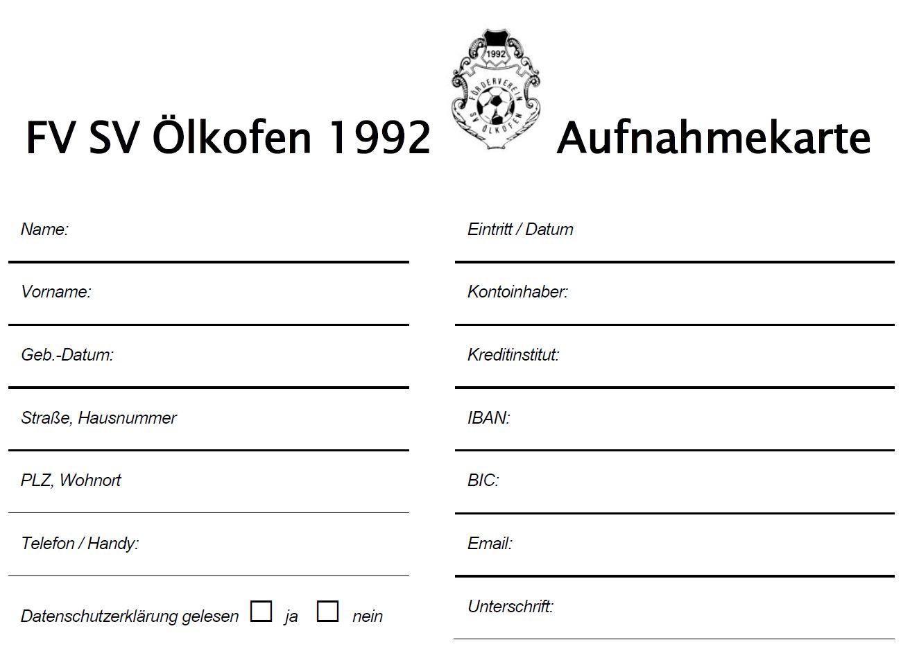 Aufnahmekarte FV SVÖ